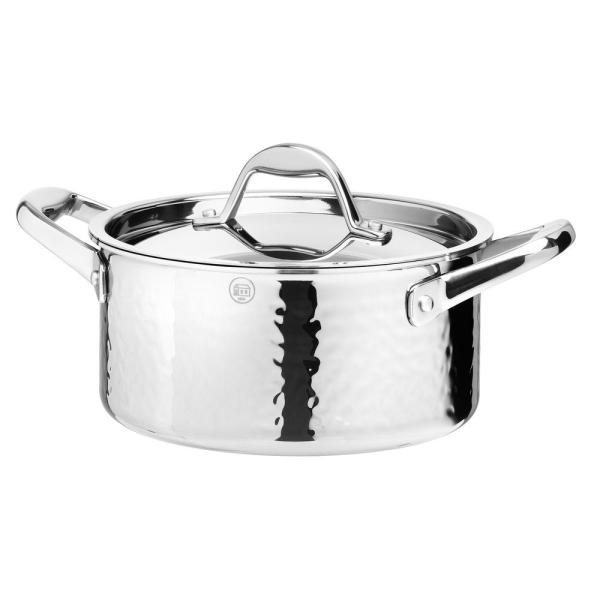 STERN 2.6 Qt. Hammered Stainless Steel Tri-Ply Stock Pot with Lid