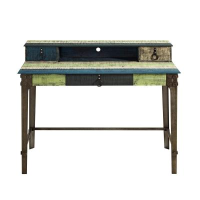 47 in. Rectangular Multicolor 3 Drawer Writing Desk with Solid Wood Material