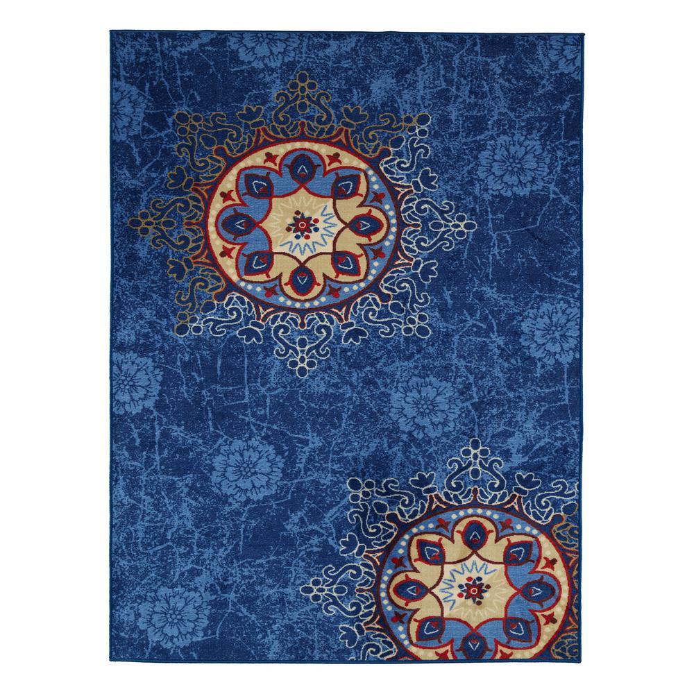 Ottomanson Studio Collection Medallion Design Blue 3 ft. x 5 ft. Non-Skid Area Rug