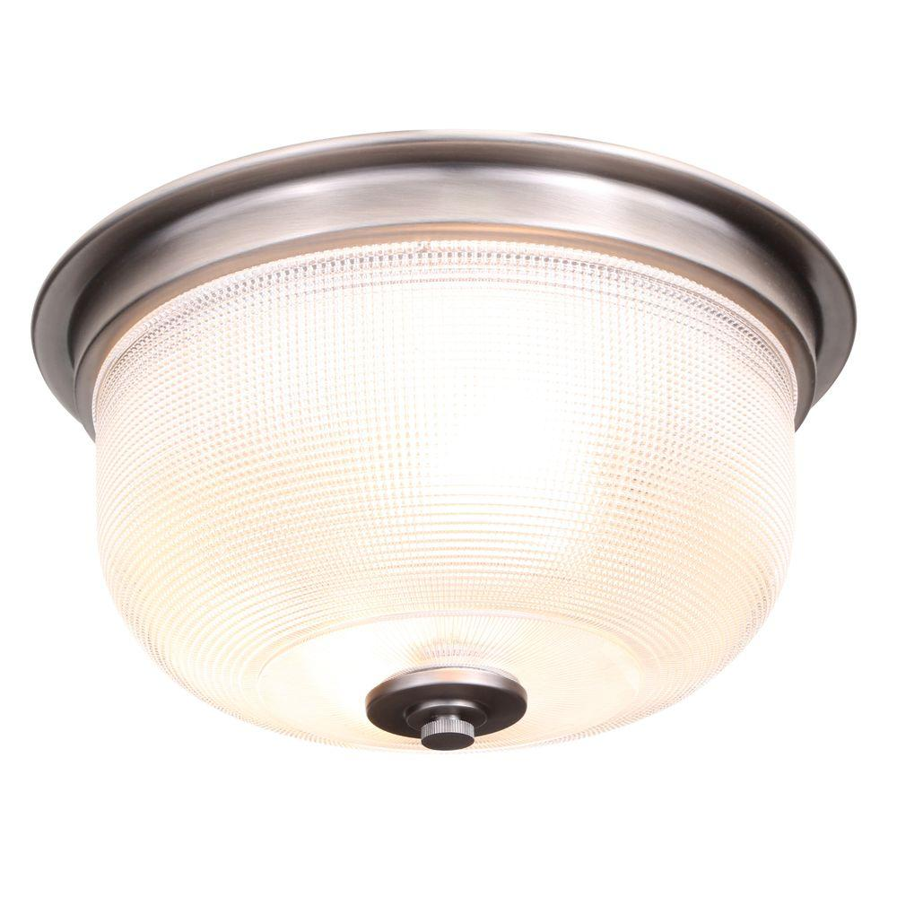 Progress lighting archie collection 2 light antique nickel flush mount with clear prismatic glass