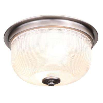 Archie Collection 2-Light Antique Nickel Flushmount with Clear Prismatic Glass
