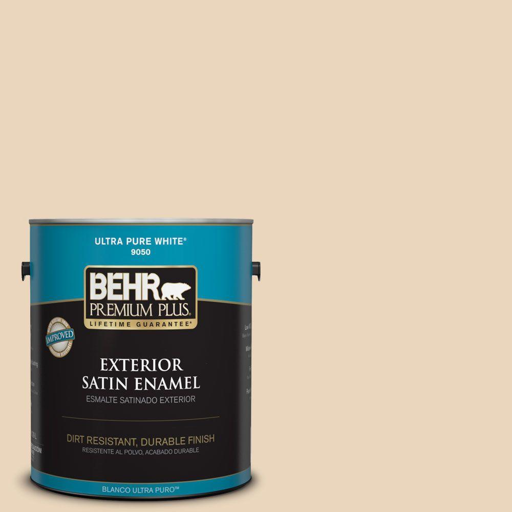 BEHR Premium Plus Home Decorators Collection 1-gal. #HDC-MD-17 Minimum Beige Satin Enamel Exterior Paint