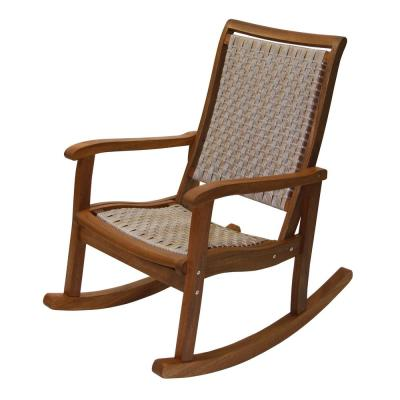Ash Wicker and Eucalyptus Outdoor Rocking Chair