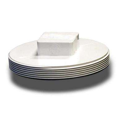 4 in. PVC MPT Clean Out Plug Solvent Weld Fitting in White