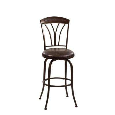 Marano 30 in. Speckled Bronze Pewter Swivel Counter Stool
