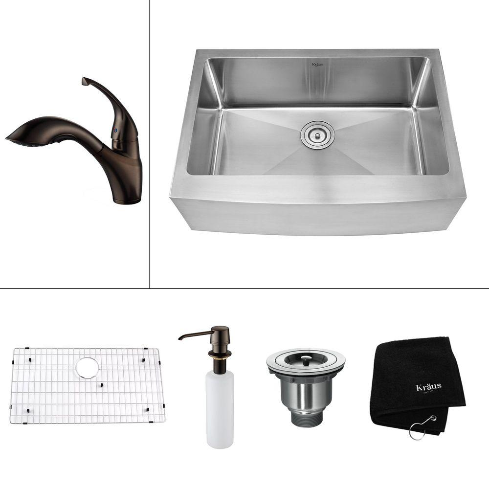 KRAUS All-in-One Farmhouse Apron Front Stainless Steel 30 in. 0-Hole Single Bowl Kitchen Sink w/ Oil Rubbed Bronze Accessories