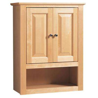24 In. W x 9 In. D Linen Cabinet in Maplewood
