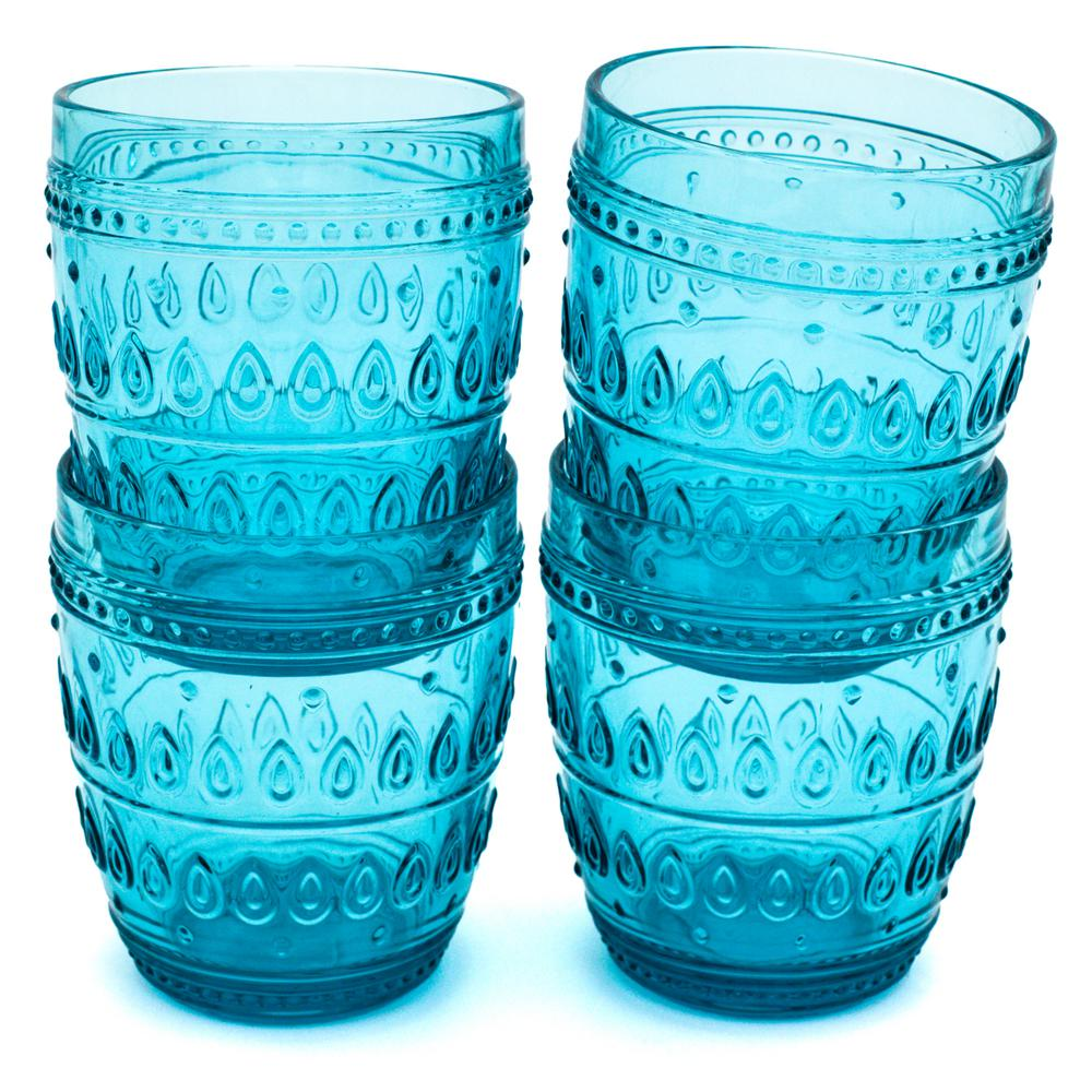Fez 12 oz. Turquoise Old Fashion Glass Set (4-Piece) The Fez Collection by Euro Ceramica features a unique design inspired from the south of Spain region matching the trend and reflection of many different cultures. Fez glassware makes a perfect match - adding to the Fez Dinnerware Collection, it is no surprise these two are the perfect match. These old fashion glasses are dishwasher safe and perfect for any drink.