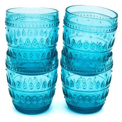 Fez 12 oz. Turquoise Old Fashion Glass Set (4-Piece)