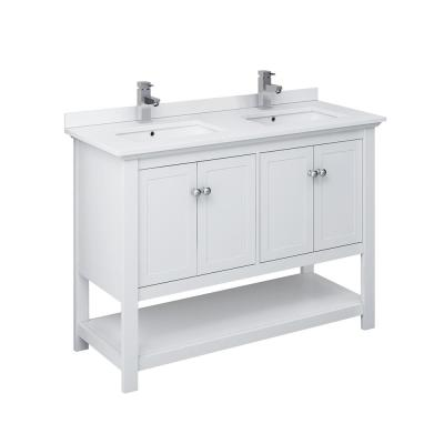 Manchester 48 in. W Bathroom Vanity in White with Quartz Stone Vanity Top in White with White Basin