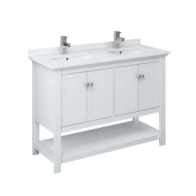 Manchester 48 in. W Bathroom Double Bowl Vanity in White with Ceramic Vanity Top in White with White Basins