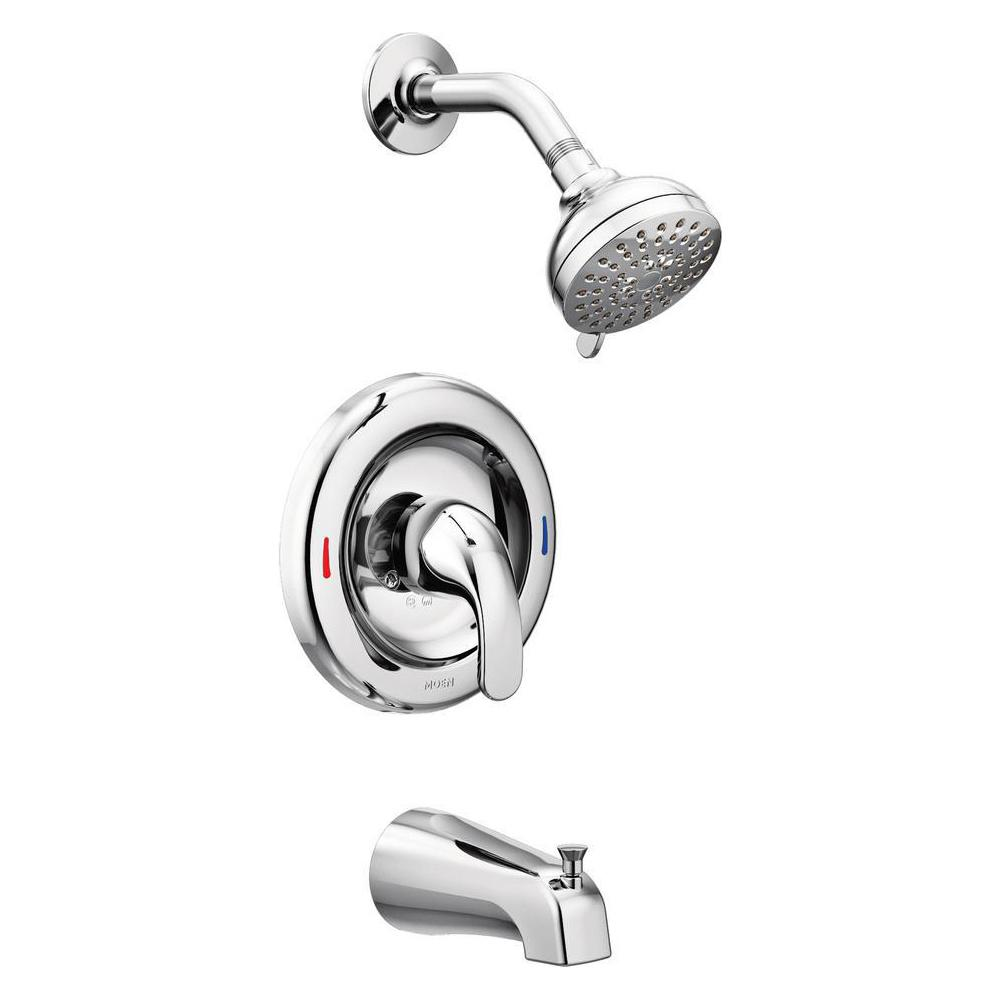 MOEN Adler Single-Handle 4-Spray Tub and Shower Faucet with Valve in Chrome (Valve Included)