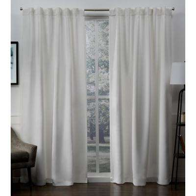 Sateen 52 in. W x 96 in. L Woven Blackout Hidden Tab Top Curtain Panel in Vanilla (2 Panels)
