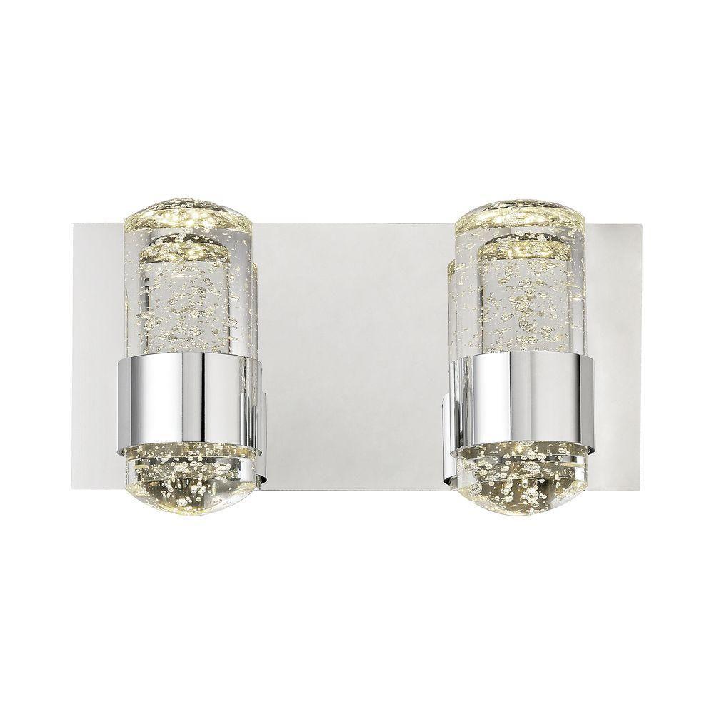 Surrey 2-Light Chrome and Bubbled Glass LED Vanity Light