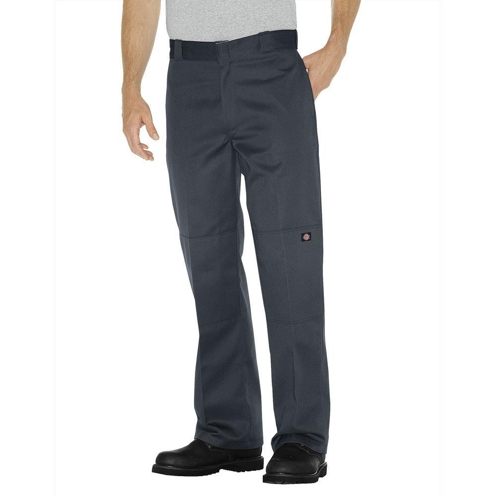 Men's Charcoal Loose Fit Double Knee Work Pants