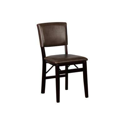 Brown/Espresso Vinyl Seat Foldable Folding Chair (Set of 2)