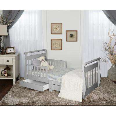 Pebble Grey Toddler Adjustable Sleigh Bed with Storage Drawer