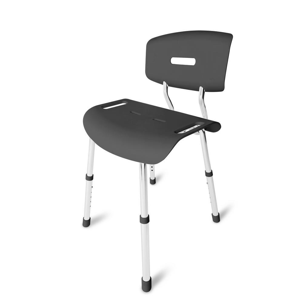 Medical Heavy-Duty Spa Bathtub Euro-Style Adjustable Shower Chair Bath Seat Bench, Dark Gray