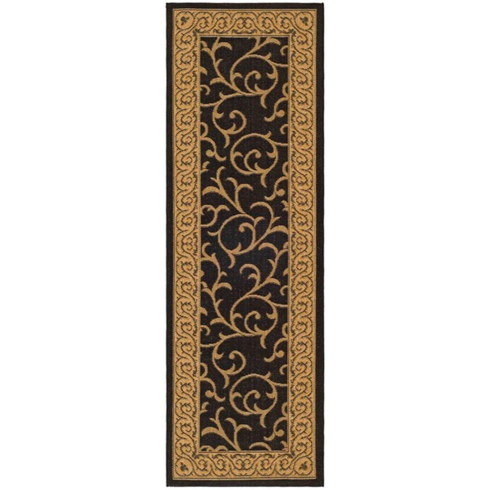 Safavieh Courtyard Black Natural 2 Ft 4 In X 12 Ft