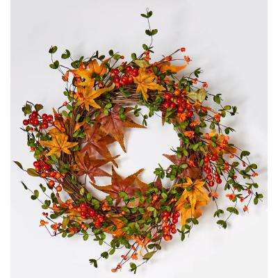 22 in. Fall Berry and Maple Leaf Wreath on Natural Twig Base