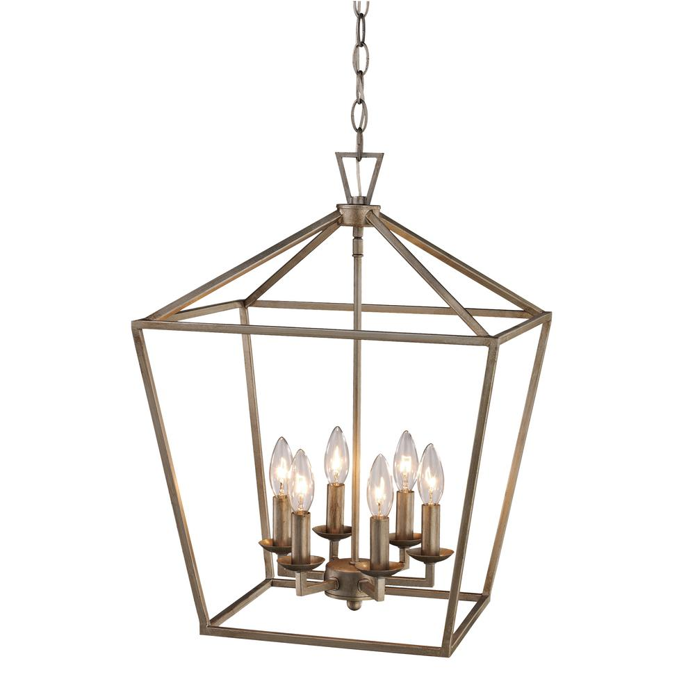 Bel Air Lighting Lacey 6 Light Antique Silver Leaf Pendant