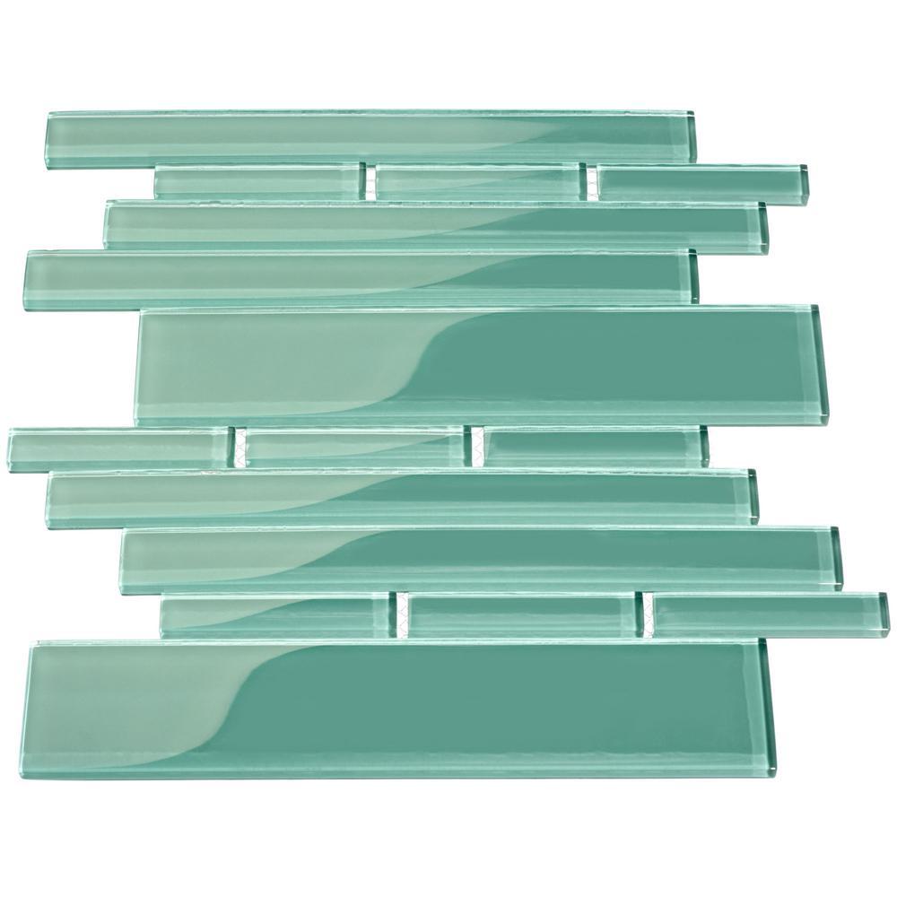 - Giorbello Teal Rectangular Brick 9.5 In. X 10.5 In. X 8mm Glass