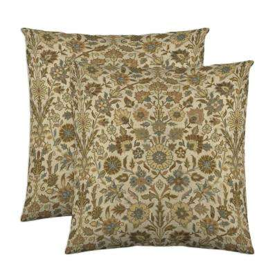 Indira 18 in. x 18 in. Nutmeg Decorative Pillow (2-Pack)