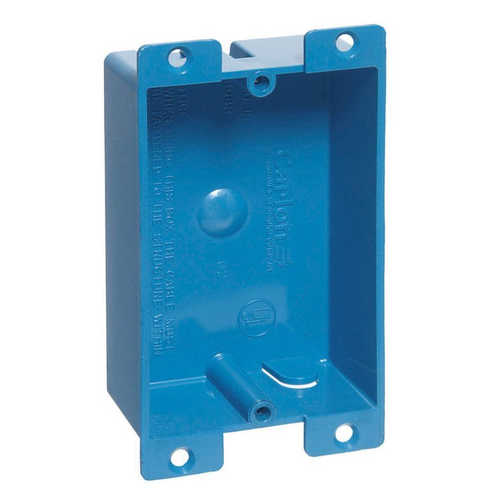 Carlon 1 Gang 8 Cu In Blue Pvc Flanged Shallow Old Work Box B108r