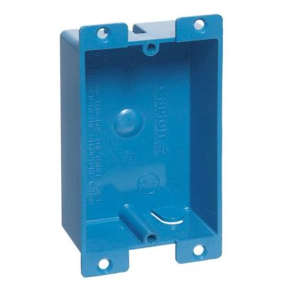 Blue PVC 1-Gang 8 cu. in. Flanged Shallow Old Work Electrical Outlet Box