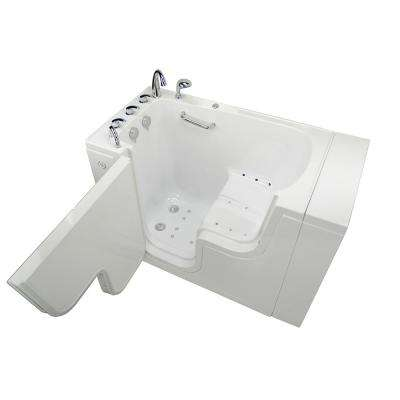Transfer 52 in. Acrylic Walk-In Air Bath Bathtub in White with Fast Fill Faucet Set, Left 2 in. Dual Drain