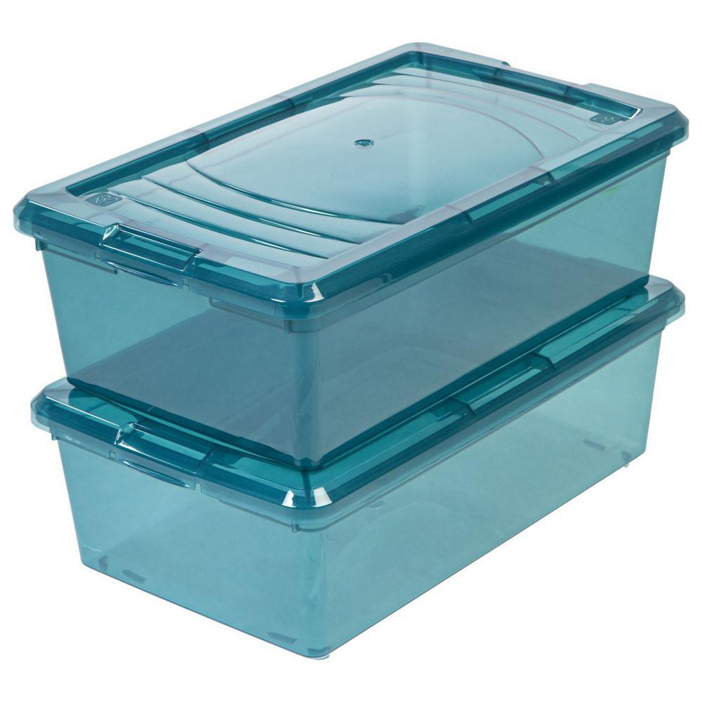 IRIS 6 Qt Modular Storage Box in Blue 10 Pack 585318 The Home Depot