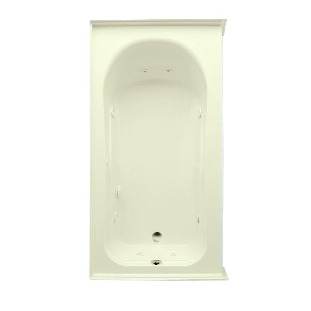 Aquatic Vincenzo Q 5.5 ft. Left Drain Acrylic Whirlpool Bath Tub with Heater in Biscuit