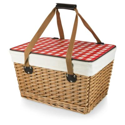 Canasta Grande Natural Wicker Wood Picnic Basket with Red Check Lid