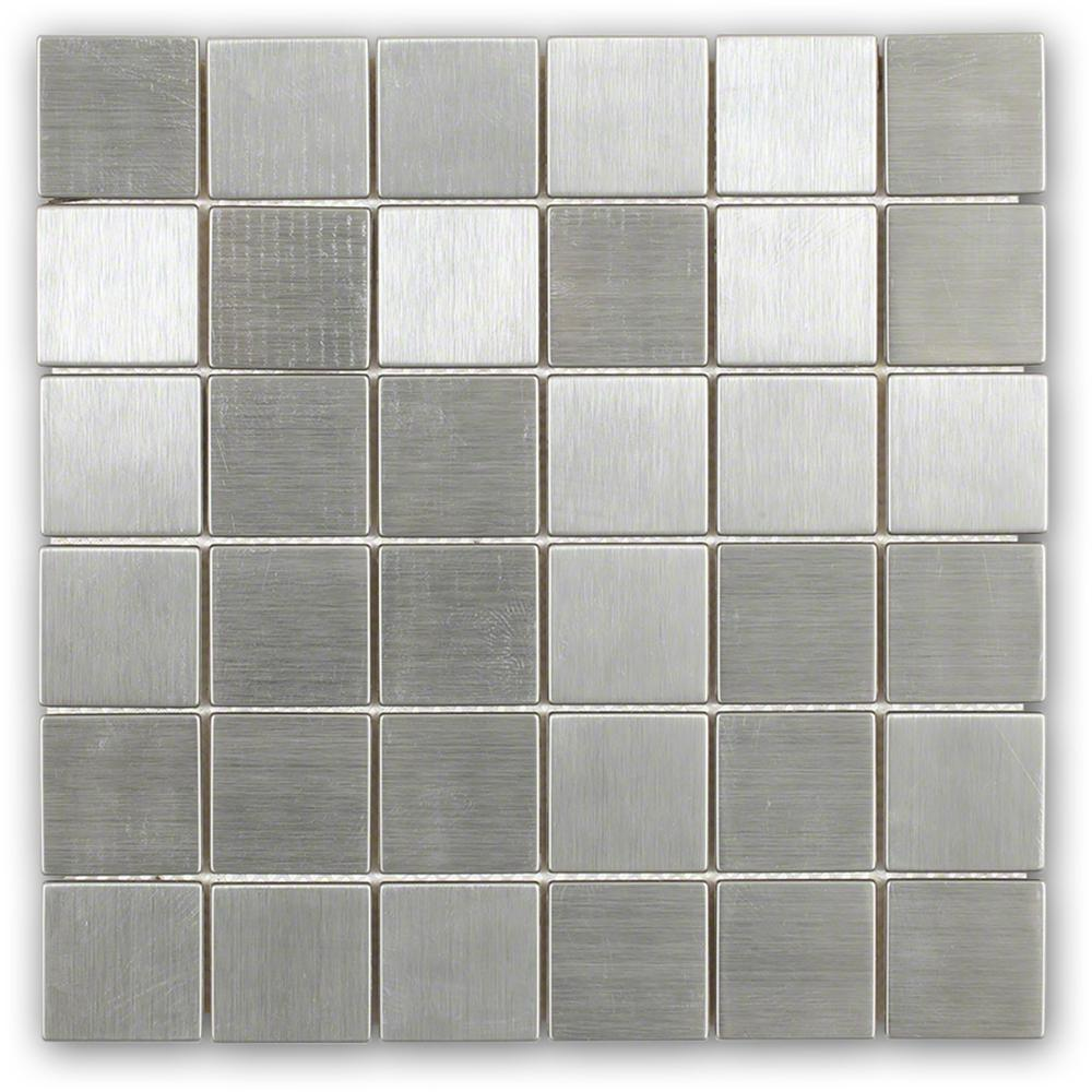 Ivy Hill Tile Stainless Steel 12 in. x 12 in. x 8 mm Mosaic Floor and Wall Tile