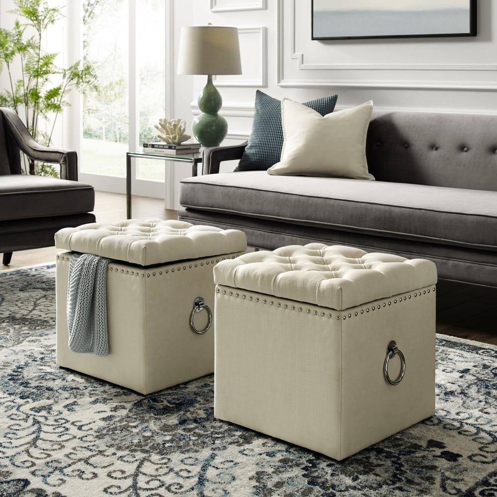 Inspired Home Micella Cream White/Chrome Linen Nailhead Trim Cube Storage