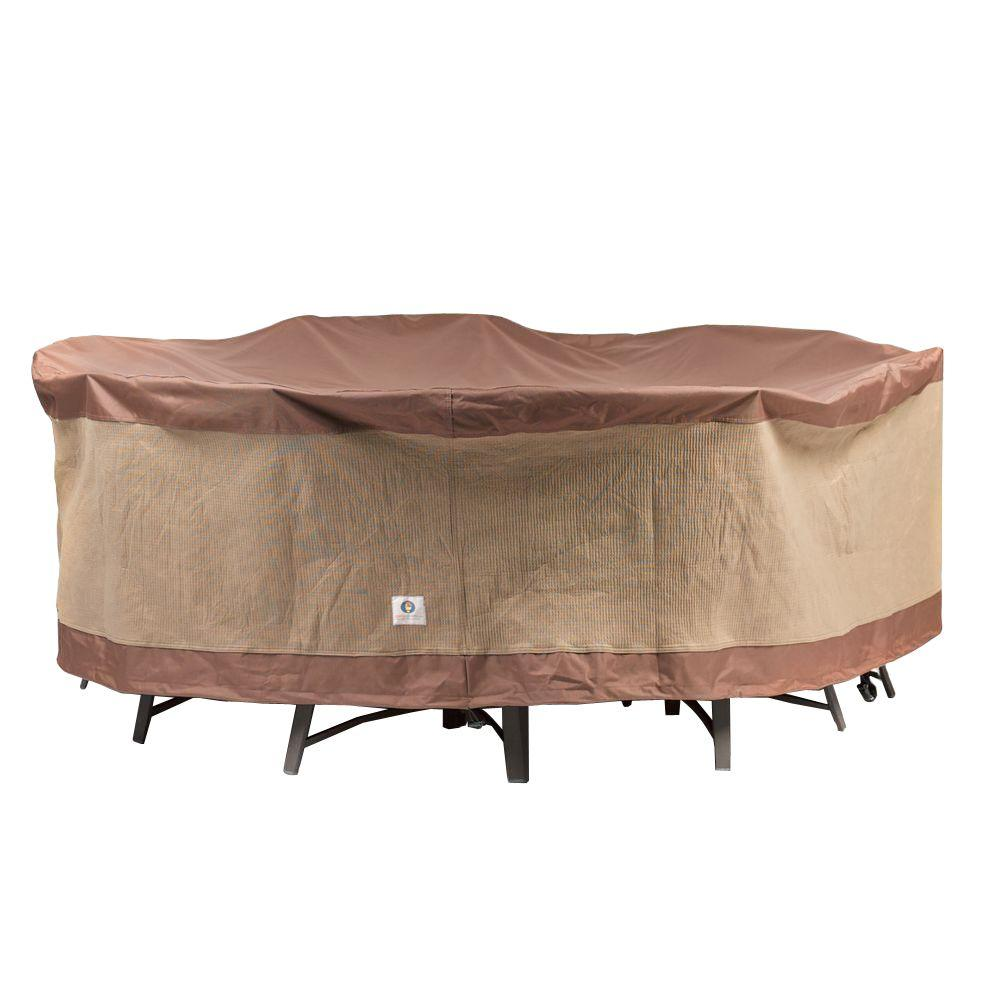 Duck covers ultimate 90 in round patio table and chair for Round patio chair