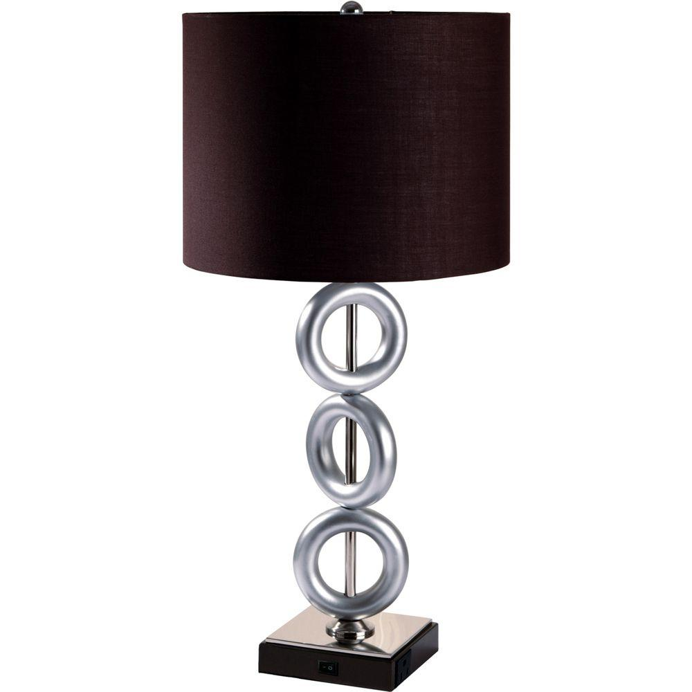 Perfect 3 Modern Silver Ring Metal Table Lamp With Brown Shade And Convenient Outlet 8322 1    The Home Depot