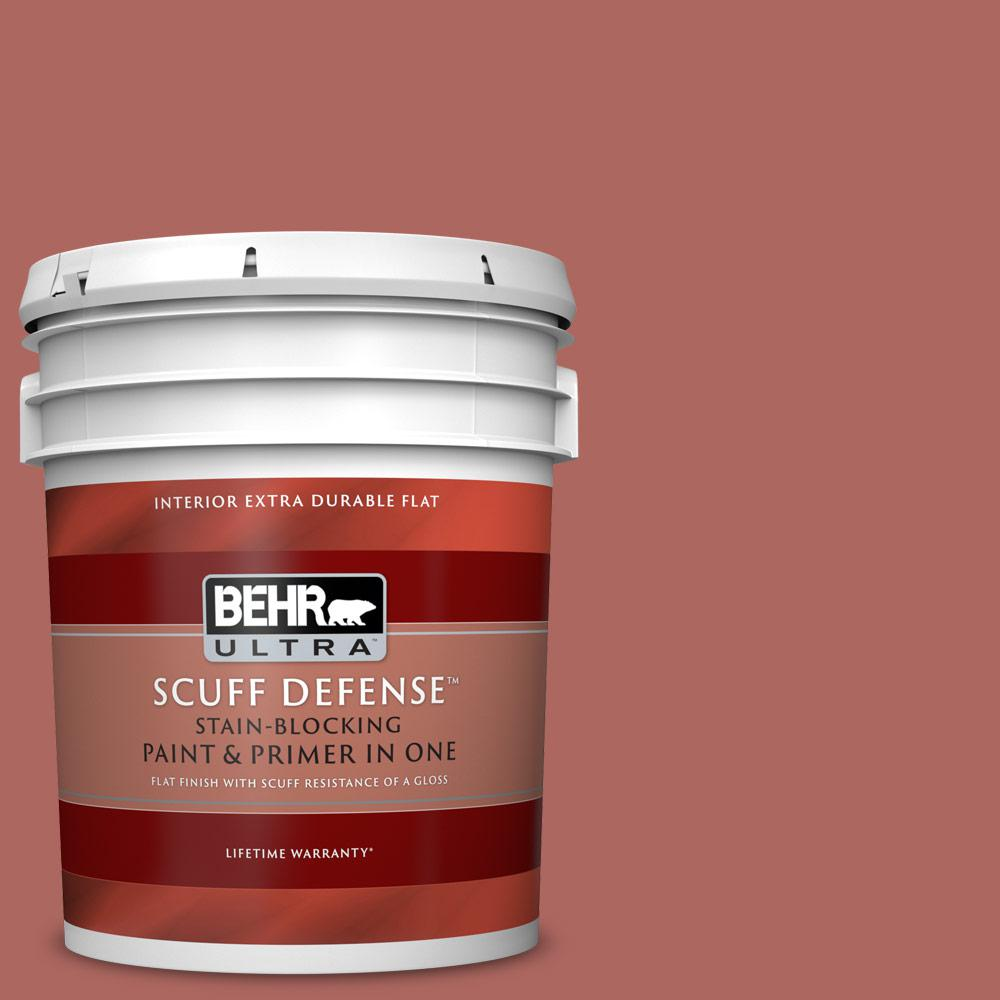 Behr Ultra 5 Gal Ppu2 13 Colonial Brick Extra Durable Flat Interior Paint With Primer In One 172305 The Home Depot