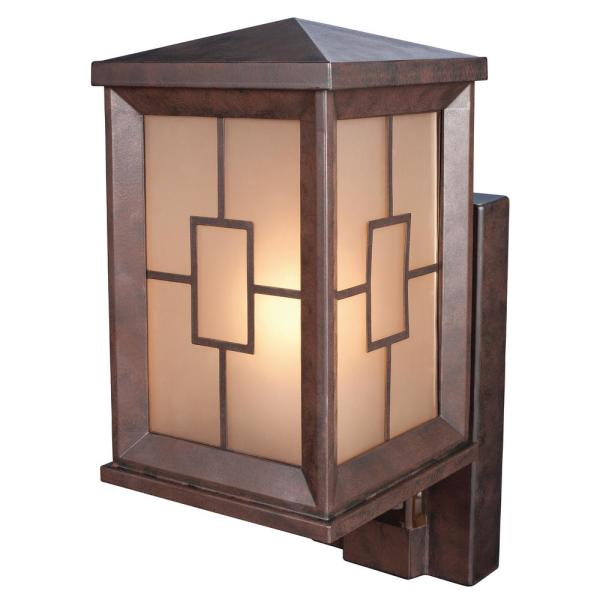 1-Light Heritage Bronze Motion Activated Outdoor Wall Lantern Sconce