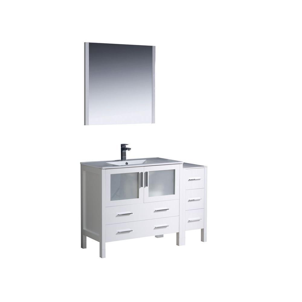 Fresca Torino 48 In Vanity In White With Ceramic Vanity Top In