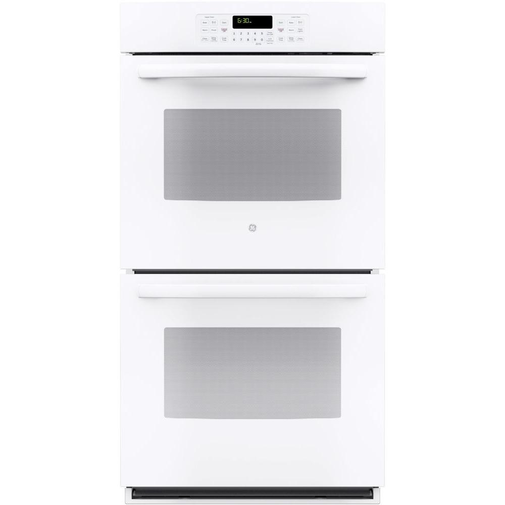 GE 27 in. Double Electric Wall Oven Self-Cleaning with Steam in White