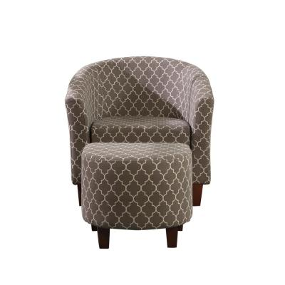 Chain Patterend Tub Chair with Ottoman Green