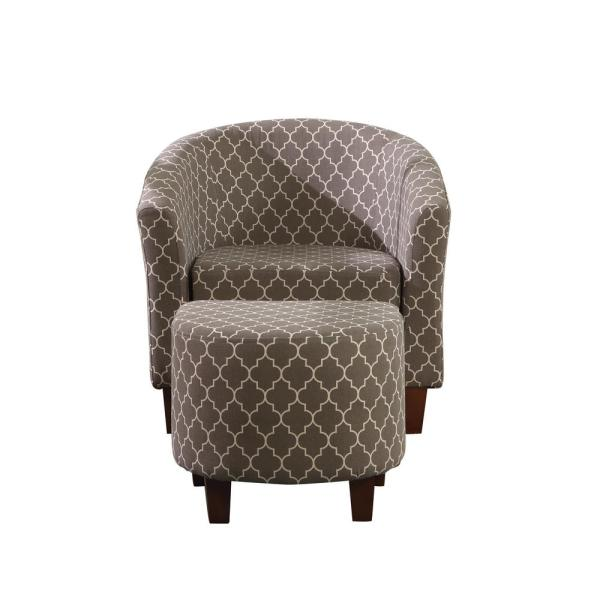 undefined Chain Patterend Tub Chair with Ottoman Green