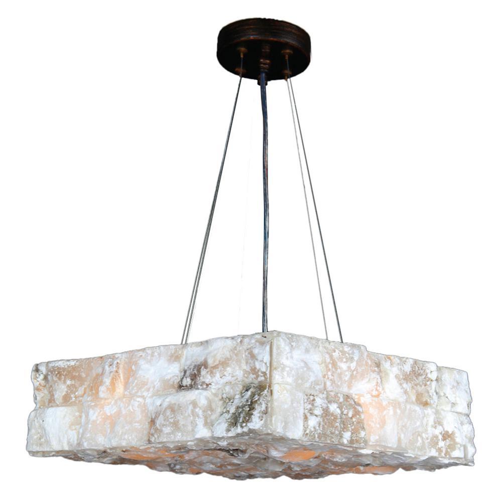 Pompeii 4-Light Flemish Brass Natural Quartz Medium Square Pendant