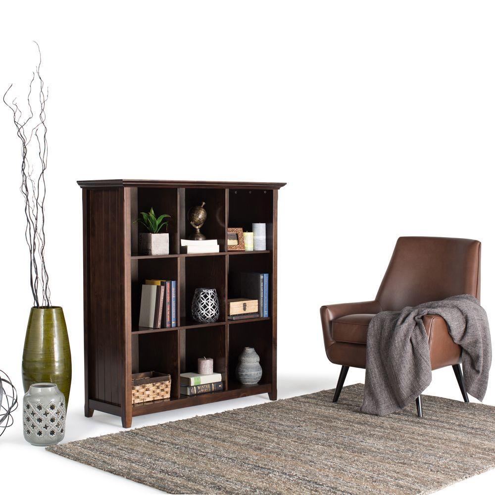 Simpli Home Acadian Dark Tobacco Brown Open Bookcase
