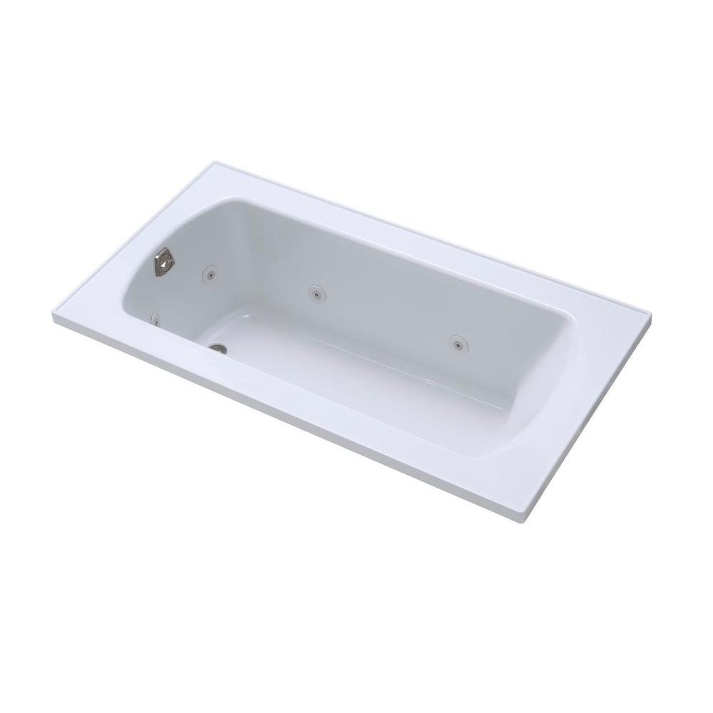 STERLING Lawson 60 in. x 32 in. Decked Drop Whirlpool Tub with Left-Hand Drain in Almond