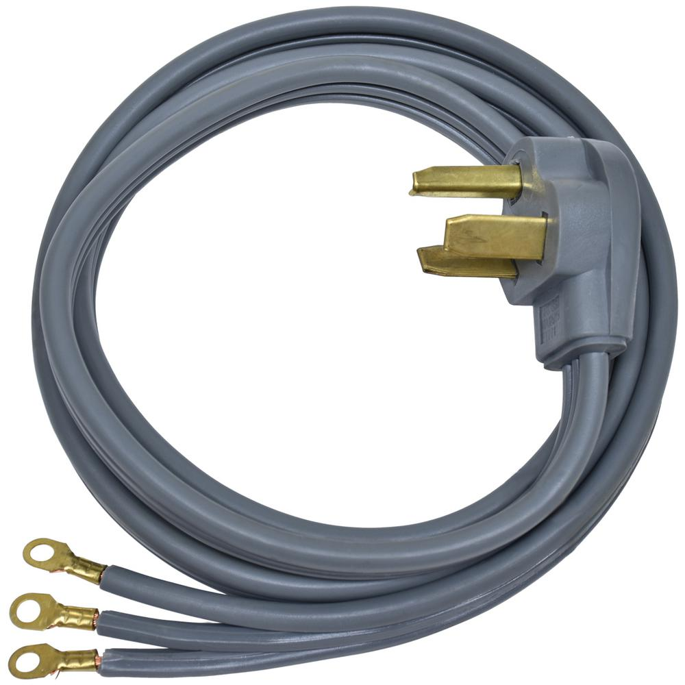 Everbilt 6 ft. 10 3-Wire Electric Dryer Cord Use this 6 ft. 3-prong Universal Dryer Power Cord to connect your dryer to a matching 3-prong receptacle. The right angle plug keeps the cord close to the wall to avoid kinking and damage. The cord has a 30 Amp and is good for use with most leading brand free-standing dryer.