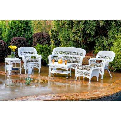Portside White 6-Piece Wicker Patio Seating Set with Vivienne Putty Cushions