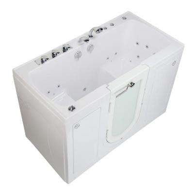 Tub4Two 60 in. Walk-In Whirlpool and Air Bath Bathtub in White LH Outward Door Heated Seat Fast Fill Faucet Dual Drain