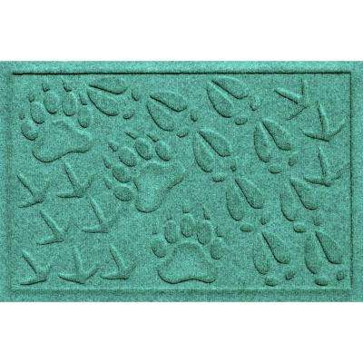 Aqua Shield Animal Tracks Aquamarine 17.5 in. x 26.5 in. Pet Mat